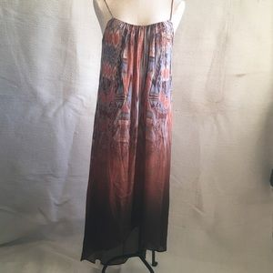 Silk w Cotton Jersey Lining! Ikat Midi Maxi Dress